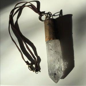 Huge crystal quartz statement necklace brass